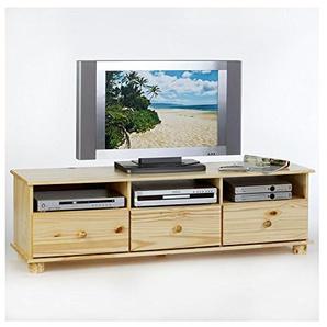 IDIMEX Lowboard TV Möbel BERN, Fernsehkommode Hifi Möbel Unterschrank, mit 3 Schubladen, Kiefer massiv natur lackiert