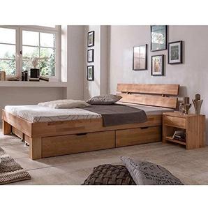 Futonbett Schlafzimmerbett - SKARA - Kernbuche Buche geölt Bett Liegefläche 90 x 200 cm inkl 2 Schubladen + 7-Zonen Lattenrost