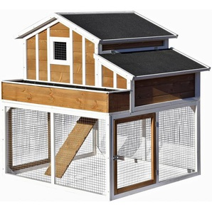 Hühnerstall oder Kleintierstall XL mit Freigehege 126 x 128 x 143 cm