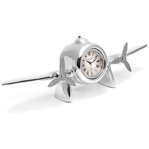 Brilibrum Design Tischuhr Modell Flugzeug Inklusive Wunschgravur Propeller Kaminuhr Regal Dekoration Wecker Metall Silber Pilot Flügel-Uhr (Uhr mit Gravur bis 15 Zeichen)