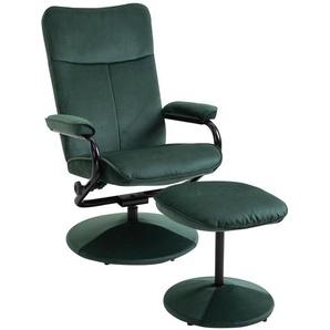 Relaxsessel TRINIDAD mit Hocker Samtbezug in grün