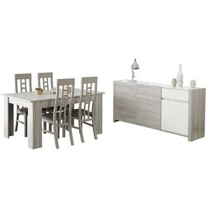 Esszimmermöbel Set in Weiß Hochglanz Grau (6-teilig)