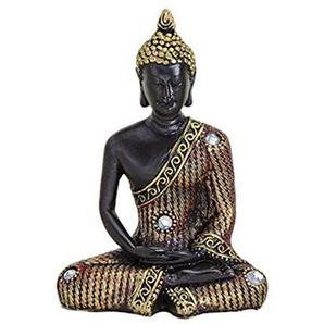 Buddha in scharz/Gold aus Poly, Hand unten, Maße (B/H/T) ca: 8 x 11 x 5 cm