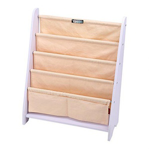 Kinder Bücherregal Kinderregal Kinderzimmerregal Aufbewahrungsregal Spielzeugregal Büchergestell mit 4 fächer Beige 62x 28x 72,8cm