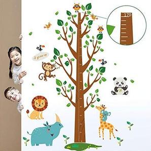 decalmile Groß Baum Höhentabelle Wandtattoo Löwe Eule Affen Tiere Wandsticker Wandaufkleber Wanddeko für Wohnzimmer Schlafzimmer Kinderzimmer Babyzimmer
