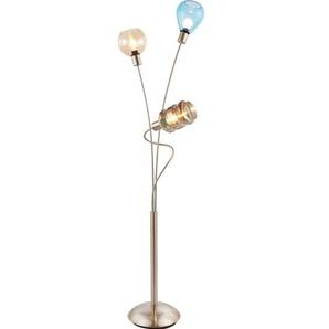 NINO Retrofit Stehlampe 3 flg. PESARO Nickelfarbig mit Glasschirmen