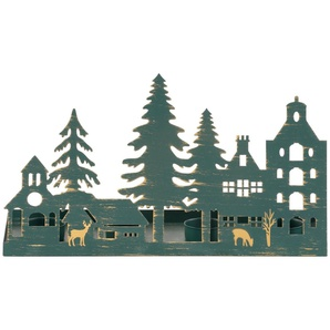 Home affaire Kerzenhalter »Weihnachtsdorfsilhouette«, Breite 35 cm