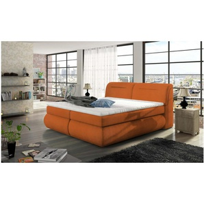 JUSTyou Eos Boxspringbett Continentalbett Amerikanisches Bett Doppelbett Ehebett Gästebett Orange 140x200