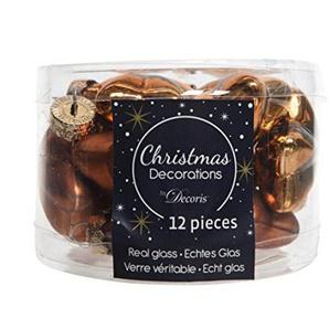 12 Weihnachtskugeln Glas Sterne 40mm (Rostbraun/Braun) Christbaumkugeln Baumkugeln Weihnachtsdeko Kugeln Glaskugeln Dose