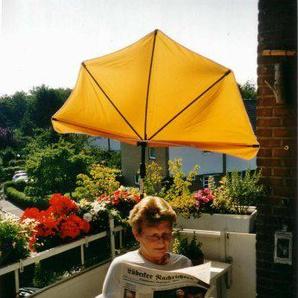 Neues Modell ab März 2018 - STABIELO - Balkonfächerschirm Hollysun ® Farbe gelb 140 x 70 cm mit 5 fach im Radius verstellbarer Holly® 360 ° MULTI - halterung GVC (35 EUR) mit Gummischutzkappen - INNOVATIONEN MADE in GERMANY - HOLLY PRODUKTE STABIELO ® -