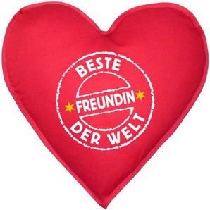 Liebevolles Kissen in Herzform! Stempel: Beste Freundin der Welt Schönes Geschenk! ca. 40x40cm