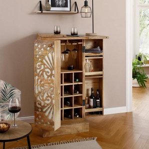 Home affaire Barschrank »Alankar«, aus massivem Mangoholz, mit schöner Fräsung auf den Türenfronten, Höhe 113 cm, orange