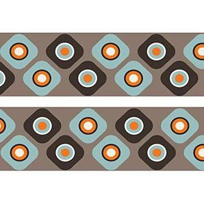 wandmotiv24 Bordüre Cappucchino Cupcake 260cm Breite - Vlies Borte Tapetenbordüre Bordüren Borde Wandborde braun blau Muster M0045