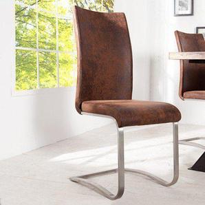 Design Freischwinger Stuhl ARCO antik braun Edelstahlrahmen gebürstet