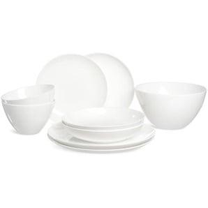 Geschirrset Pure modern Tafelservice, 2 Personen, 9-teilig, weiß