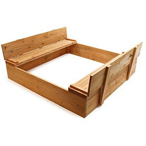 Wiltec Sandkasten Klappdeckel Sandkiste Sitzbank Sandbox Holz