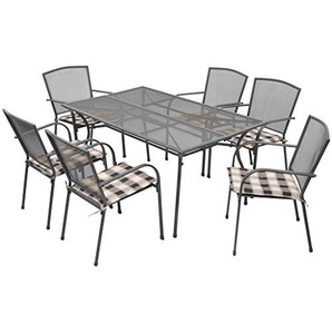 vidaXL Gartenmöbel 13-TLG. Streckmetall Gartenset Gartengarnitur Sitzgruppe