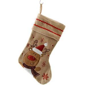 zeitzone Weihnachtsstrumpf Rentier Nikolausstiefel Jute Nikolausstrumpf Weihnachtssocke 40cm