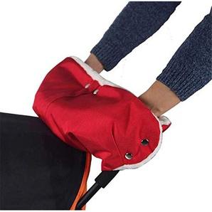 Milopon Kinderwagen Handwärmer Muff Buggys Handschuhe mit Warm Flanell Handmuff für Kinderwagen Buggy Radanhänger (Rot)