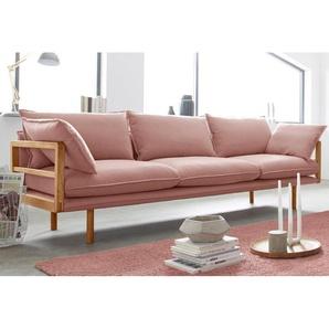 andas 3-Sitzer »Purple«, 3-Sitzer mit Eichen-Gestell in außergewöhnlichem Design, rosa, Struktur fein