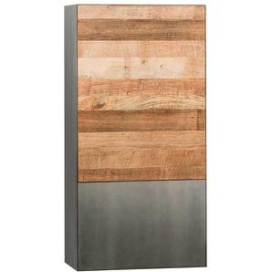 Wohnzimmer Hängeschrank aus Teak Recyclingholz Stahl in Schwarz