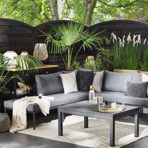 Lounge Set Aluminium 6-Sitzer Auflagen grau FORANO