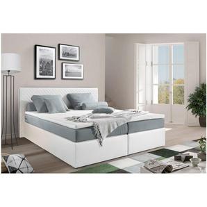 JUSTyou Frankfort Boxspringbett Continentalbett Amerikanisches Bett Doppelbett Ehebett Gästebett 160x200 Weiß Grau