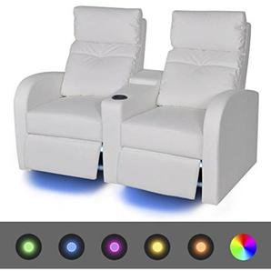 Cinema Sessel 2-Sitzer Sofa Kunstleder LED-Fernsehsofa Weiß 151 x 85 x 103 cm