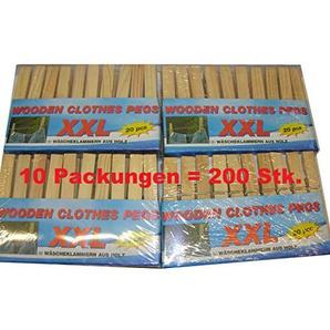 Wäscheklammern XXL aus Holz große Holzwäscheklammern 200 Stück