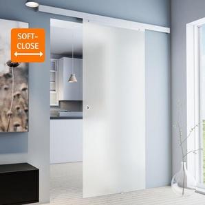 Tür Schiebetür Glas satiniert 755x2035 Zimmertür Glasschiebetür - Griffmuschel+2seitiger Softclose - inova Star
