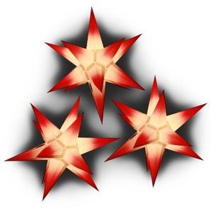 Sternschmiede 3 Weihnachtssterne aus Papier, beleuchtet (weiß mit roten Spitzen)