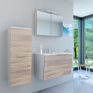 Badmöbel Set Gently 1 V2-L weiß / Eiche hell, Badezimmermöbel, Waschtisch 80cm -15310- mit 1x 5W LED Strahler - ACQUAVAPORE