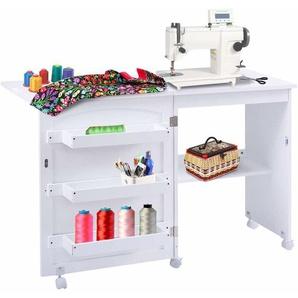 COSTWAY Faltbarer Naehschrank Naehtisch Naehmaschinentisch Naehmaschinenschrank Mehrzwecktisch Schreibtisch Arbeitstisch auf Rollen weiss