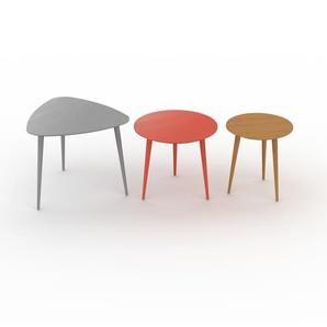 Couchtisch Eiche, Holz - Eleganter Sofatisch: Beste Qualität, einzigartiges Design - 59/50/40 x 50/44/44 x 61/50/40 cm, Konfigurator