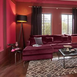 Guido Maria Kretschmer Home&living Ecksofa »Renesse«, Recamiere links, rot, B/H/T: 294x44x57cm, Inkl. loser Zier- und Rückenkissen, hoher Sitzkomfort