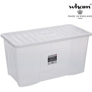 Hochwertige XXL Box mit Deckel, 110l, 79,5x39,5cm ? Lebensmittelecht ? Sicherer Clip-Verschluss ? Stapelbar ? Schadstofffrei | Transparente Transport-Kiste, Lagerbox, Aufbewahrungs-Kiste, Aufbewahrungsbox, Stapelbox, Transportbox, Plastik-Box,