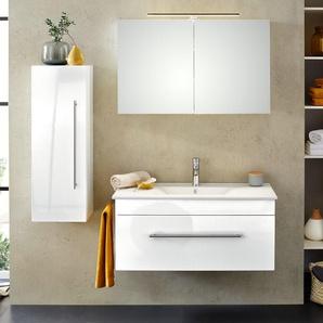 Badmöbel-Set 100cm Premiumausstattung inkl. Licht  allseitig weiß hochglanz