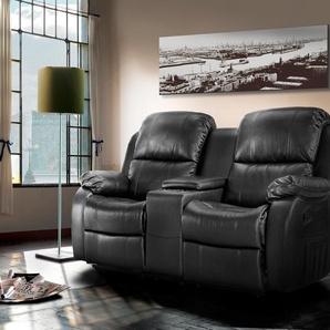 2-er Cinema Sessel mit schwarzem Kunstleder bezogen, Relaxfunktion, Aufbewahrungsfach und Getränkehalter, Maße: B/H/T ca. 180/101/102 cm