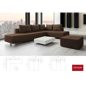 Gemini A Ecksofa Schlafsofa Doppelbett, braun, Verwandlungssofa mit Liegeflächen 200x160cm oder 2x 200x80cm