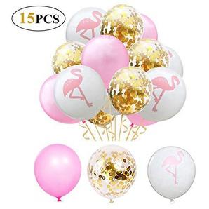 YeeStone Luftballons 15 Stück Flamingo 12 Zoll Ballons - für Hochzeit Dekoration Geburtstag Hawaii Party Dekorationen