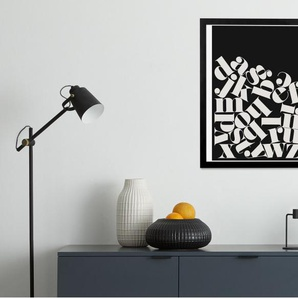 Balanced Alphabet gerahmter Kunstdruck (40 x 50 cm), Schwarz und Weiss