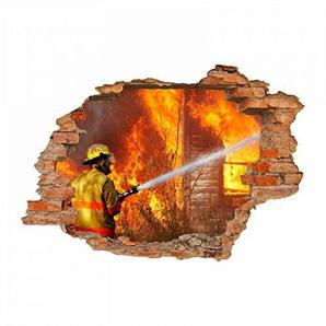 nikima - 054 Wandtattoo Feuerwehrmann - Loch in der Wand Feuerwehr löscht Haus Feuer - in 6 Größen - Coole Kinderzimmer Sticker und Aufkleber Wanddeko Wandbild Junge Mädchen Größe 1750 x 1210 mm