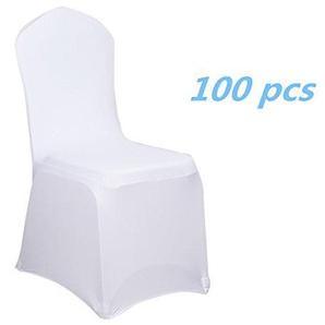 MCTECH® Schleifenband Stuhlbezüge Stuhlhussen Stretch Acelectronic Stuhlüberzug moderne Stuhl Abdeckung für Hochzeiten und Feiern (100 Stück, Weiß)