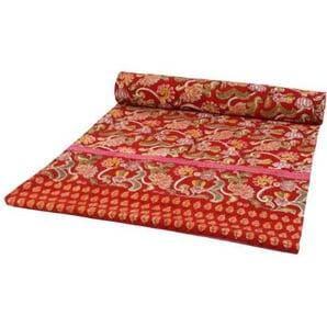 Guru-Shop Blockdruck Tagesdecke, Bett & Sofaüberwurf, Handgearbeiteter Wandbehang, Wandtuch Rot, Mehrfarbig - Design 16, Baumwolle, Größe: Double 225x275 cm, Tagesdecken mit Blockdruck