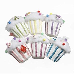 Christmas Decorations Party Decor Foam Cup Cakes Ice Creams Colorful Bubble Candy House Pendant Christmas Tree Pendant 6pcs(pop Corn)