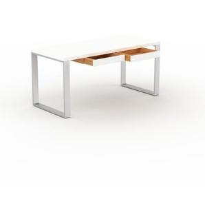 Bürotisch Massivholz Weiß - Moderner Massivholz-Bürotisch mit 2 Schublade/n - 160 x 75 x 70 cm, konfigurierbar