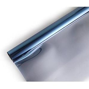 Ommda Fensterfolie Statisch Haftend Sonnenschutz Fensterfolie Blickdicht Von Aussen 97% UV-Schutz Blau 100x400cm