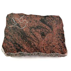 Generic Grabplatte, Grabstein, Grabkissen, Urnengrabstein, Liegegrabstein Modell Pure 40 x 30 x 5 cm Aruba-Granit, Poliert inkl. Gravur (Sandstrahl-Ornament Taube 2)