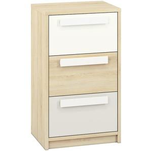 Jugendzimmer - Kommode Greeley 11, Farbe: Buche / Weiß / Hellgrau - Abmessungen: 93 x 54 x 40 cm (H x B x T), mit 3 Schubladen