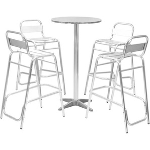 5-tlg. Bar-Set mit Rundem Tisch Silbern Aluminium - VIDAXL